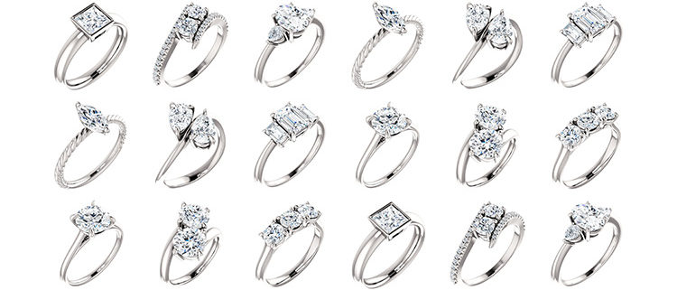 Wedding Ring Styles.Solitaire Two Stone And Three Stone Engagement Rings